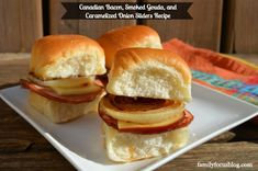 Delicous sliders recipe, version of ham and cheese with Hawaiian rolls. Canadian Bacon, Smoked Gouda, and Caramelized Onion Sliders. Slider Sandwiches, Appetizer Sandwiches, Sliders, Appetizer Recipes, Dinner Recipes, Bacon Sandwich Recipes, Hot Dog Recipes, Bacon Recipes, Canadian Bacon