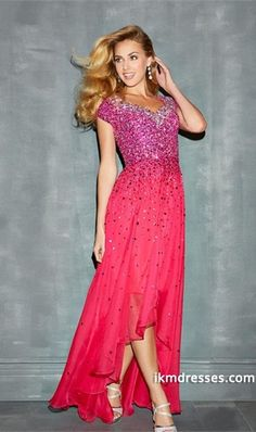 http://www.ikmdresses.com/Chic-Dress-V-Neck-A-Line-With-High-Low-Chiffon-Skirt-Full-Beaded-Bodice-Short-Sleeve-p84963