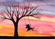 Sunset Joy - Original watercolour painting by Kirsten Bailey, I love these kinds of silhouettes. :)