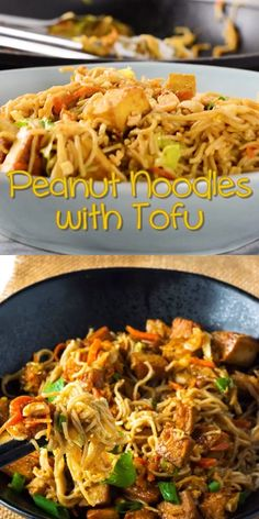 This delicious Peanut Noodles with Tofu recipe tastes so amazing with just simple ingredients and it even tastes better than any take out! food recipes dinners simple Peanut Noodles With Tofu Seafood Recipes, Beef Recipes, Cooking Recipes, Healthy Recipes, German Recipes, Vegetarian Asian Recipes, Vegan Noodles Recipes, Top Ramen Recipes, Vegan Recipes Videos