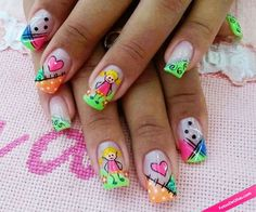 Back to school fun nail art. Cute Nail Art, Gel Nail Art, Nail Manicure, Cute Nails, Acrylic Nails, Nail Polishes, Orange Nail Designs, Cool Nail Designs, Party Nails
