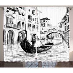 East Urban Home Sketchy Gondola in Venice European Famous Canal History Mediterranean Holiday ImageGraphic Print & Text Semi-Sheer Rod Pocket Curta...