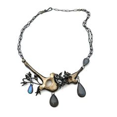 """Anna Johnson, """"Felis Canis Necklace."""" Anna will be teaching """"Freestyle Assemblages"""" July 23 - August 8, 2017 in the Penland metals studio. The workshop will explore casting found objects, wax carving, stone setting, joinery, and more. Details: http://penland.org/classes/summer/summer_session_5.html"""