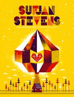 Sufjan Stevens poster by The Silent Giants (via French Paper) #TheSilentGiants #SufjanStevens #yellow #FrenchPaper #jewel