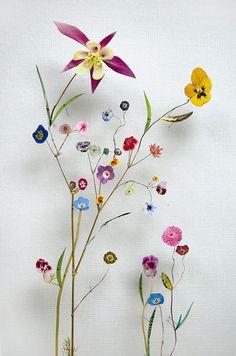 Anne ten Donkelaar. Delicate kunst met bloemen en takjes. Voor meer ruimtelijk effect zijn ze op spelden geprikt. #dutchdesign #kunst #bloemen