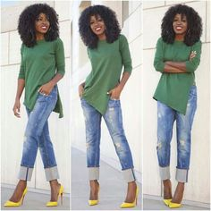 The color combination is nice, pairing a bright yellow shoe with a oversize green shirt and jeans... loves this outfit...