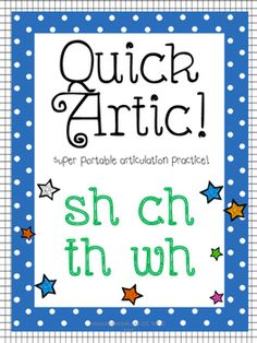 This product is the BEST, most convenient activity for working on articulation skills with your students!Super portable and filled with cute clip art, this will be your go to activity to work on speech sounds.This product includes:- Between 12-14 pictures for students to identify that target the /sh/, /ch/, /th/, and /wh/ sounds.- Two versions of the printouts that have the target word written underneath the picture, and no word under the picture so children who can read do not have written…
