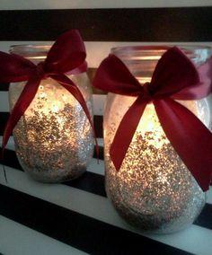 Glitter Mason Jar Candle holder by MarionsArtPlace on Etsy, $6.99