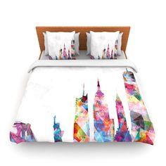 "Mareike Boehmer ""New York"" Rainbow City Woven Duvet Cover | KESS InHouse"