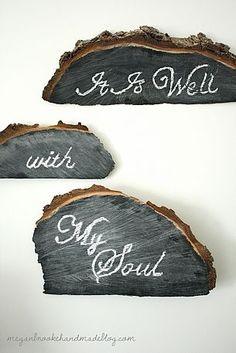 Tree stump chalkboards