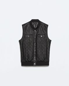 Image 7 of QUILTED FAUX LEATHER WAISTCOAT from Zara