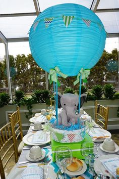 Ideas Baby Shower Ideas For Boys Elephant Theme Air Balloon For 2020 Baby Shower Decorations For Boys, Boy Baby Shower Themes, Baby Shower Balloons, Baby Shower Invitations For Boys, Baby Shower Parties, Baby Boy Shower, Jungle Decorations, Hot Air Balloon Centerpieces, Elephant Centerpieces