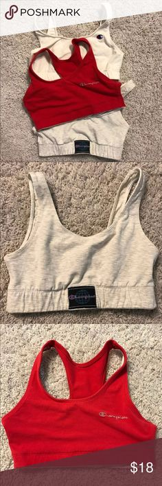 VINTAGE CHAMPION SPORT BRAS -3 vintage champion sport bras -all size med (1) gray (2) red (3) white -ask questions! Urban Outfitters Intimates & Sleepwear Bras