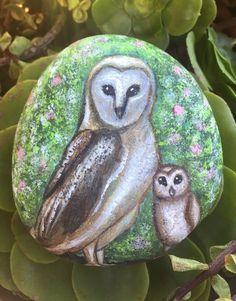 Hand Painted Barn Owl Bird painting painted rock California Art CreatedCanvases  | eBay