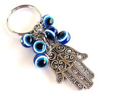 Hamsa Evil Eye Keychain Bag Charm Keyring Protection Yoga Accessories Mothers Day Unique Gift For Her or Him Under 10 Item J3 by BohemianEarthDesigns on Etsy https://www.etsy.com/listing/114913825/hamsa-evil-eye-keychain-bag-charm