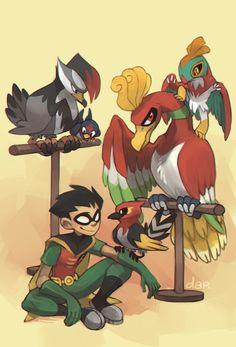 Teen Mutants and Pokemon crossover Robin, Ho-Oh, Hawlucha, Staraptor, Fletchinder Pokemon Comics, Pokemon Funny, Pokemon Fan Art, Cute Pokemon, Pokemon Team, Teen Titans Love, Original Teen Titans, Teen Titans Fanart, Pokemon Crossover