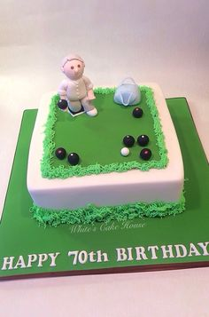 A lawn bowling themed birthday cake. A lawn bowling themed birthday cake. 90th Birthday Cakes, Birthday Ideas, Bowling, Cupcake Decorating Party, Green Cake, Bowl Cake, Homemade Wine, Fondant Toppers, Novelty Cakes