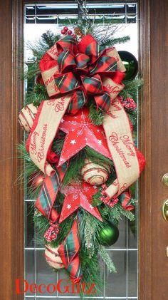 Christmas Swag with MERRY CHRISTMAS Burlap and Tartan by decoglitz