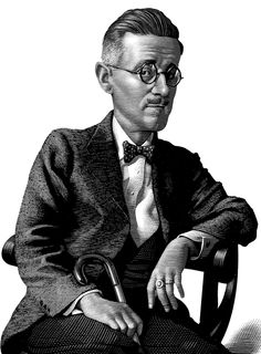 James Joyce, AUTHOR, AUTHOR... scratchboard art of Mark Summers, via Behance