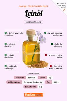 You should know about linseed oil eatsmarter.de # nutrition # linseed oil You are in the right place about Vitamine B12, Healthier Together, Linseed Oil, Food Facts, Diet And Nutrition, Holistic Nutrition, Nutrition Guide, Complete Nutrition, Proper Nutrition