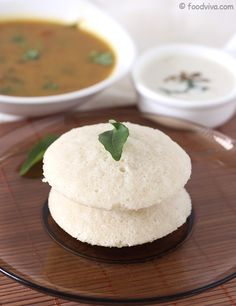 South Indian Idli (Soft and Spongy Steam Cooked Rice/Lentil Cake) - Healthy Food for Snack and Breakfast - Serve with Coconut Chutney and Sambar - Step by Step Recipe