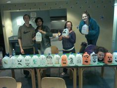 RA Active Program Halloween - recyclable pumpkins!  Have your residents come out and paint them / draw on them to make their own jack-o-lanterns.  Then, place them around the hall to decorate for Halloween.  When it's over, either let the residents keep them, or recycle them.  Great for environmental awareness education!