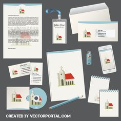 Church Theme Illustrator Templates Stationery Vector Format Design