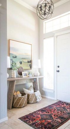 25 Small Entryway Decor Ideas 25 Small Entryway Decor Ideas When It Comes To Design Interior You Can Miss Out The Entryway Area The Area Could Attract Your Visitors If You Design It Beautifully No Matter How Big Narrow Console Table Modern Country, Country Style Homes, Country Decor, Mid-century Modern, French Country, Design Seeds, Decor Interior Design, Interior Decorating, Hallway Decorating