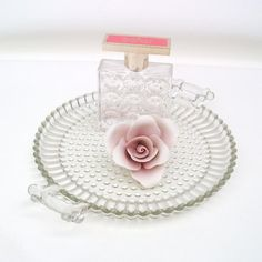 50s Glassware Tray with Handles Dresser Perfume by WhimzyThyme, $23.95