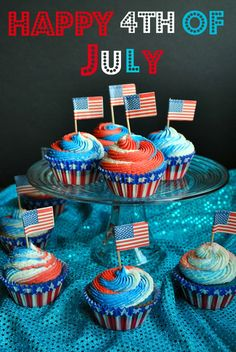 Festive red, white and blue cups in the batter and the frosting