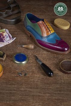 Let your creative side show in the Barker Valiant multicoloured Oxford shoe. The ultimate statement piece for any shoe-lover's wardrobe. #barkershoes #barkervaliant #multicolouredshoes Shoe Horn, Shoe Tree, Goodyear Welt, Types Of Shoes, Brogues, Shoe Brands, New Shoes, Leather Shoes, Oxford Shoes