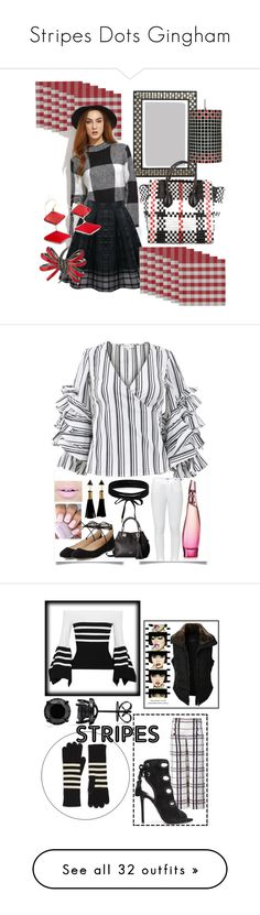 """""""Stripes Dots Gingham"""" by mdfletch ❤ liked on Polyvore featuring Design Imports, Home Decorators Collection, CÉLINE, A19, Ferrari, Stephen Webster, checkit, Caroline Constas, Paige Denim and Vince Camuto"""
