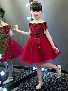 Off The Shoulder Short Sleeves Appliques Knee Length Flower Girl Party Dress - Cute Dresses Flower Girls, Cute Flower Girl Dresses, Tulle Flower Girl, Girls Party Dress, Little Girl Dresses, Birthday Dresses, Cute Dresses, Ribbon Flower, Baby Dresses