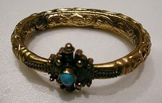 "Bracelet  Object Name: Bracelet Date: 11th–12th century Geography: Syria Medium: Gold, turquoise Dimensions: Diam. 2-7/8"" (7.3 cm) Classification: Jewelry"