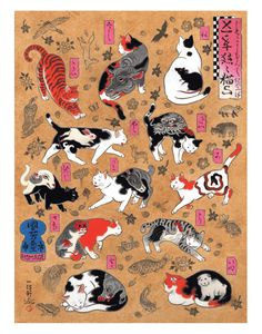 Cat signs of the Zodiac Large Print - for easy framing! Tattoo Gato, Cat Tattoo, Japanese Tattoo Art, Japanese Tattoo Designs, Dragon Cat, Japanese Cat, Japanese Sleeve, Inspiration Art, Illustration Art