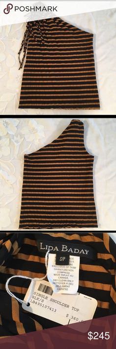 Lida Baday Black and Caramel One Shoulder Top Lida Baday black and caramel stripe one shoulder top with removable pom. Dead stock with tags still on the garment. Dry clean. Size Small. lida baday Tops