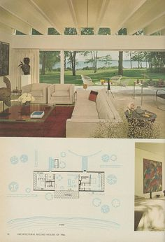 Gordon Bunshaft, Long Island Residence - I like how he did some of the plan elements in light blue -ac