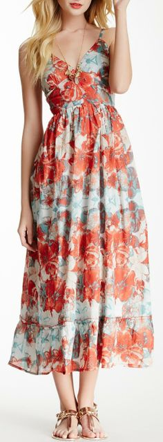 Floral Print Midi Dress. Muted oranges and blues.