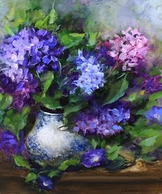 Morning Glories and Hydrangeas and a Dallas Arboretum Workshop by Texas Flower Artist Nancy Medina, painting by artist Nancy Medina