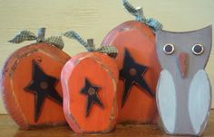 Hand made wood country primitive pumpkins & owl.