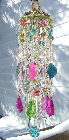 Spring Confetti Antique Crystal Wind Chime, Love it-can visualize prisms of light shining through