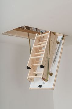 Dolle Hobby Timber Folding Loft Ladder to suit an Opening Size of 1200 x # From (Inc VAT & UK Mainland Delivery) Folding Attic Stairs, Folding Ladder, Diy Projects Apartment, Metal Handrails, Modern Stair Railing, Adams Homes, House Plan With Loft, Loft Stairs, Stairs Architecture