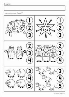 Christmas Nativity Preschool Math and Literacy No Prep worksheets and activities. A page from the unit: counting Preschool Christmas Activities, Christmas Worksheets, Christmas Math, Preschool Education, Preschool Themes, Preschool Lessons, Christmas Nativity, Preschool Worksheets, Preschool Learning