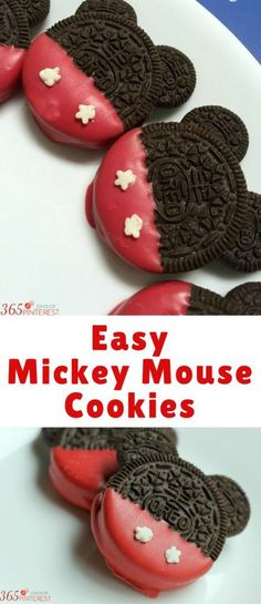 Easy Mickey Mouse Cookies - Simple and Seasonal Easy Mickey Mouse Cookies - Simple and Seasonal Quick and easy Mickey Mouse cookies are perfect for any Disney themed birthday party or Mickey Mouse lover! Everyone loves OREO cookies! Mickey 1st Birthdays, Mickey Mouse Baby Shower, Mickey Mouse Clubhouse Birthday, Mickey Mouse Cake, Mickey Mouse Parties, Mickey Birthday, Mickey Party, Mickey Cakes, Elmo Party