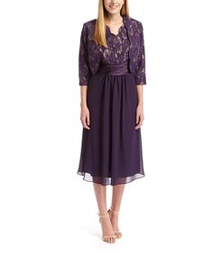 Look at this Dana Kay Eggplant Surplice Dress & Lace Jacket on #zulily today!
