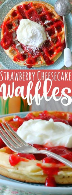 Strawberry Cheesecake Waffles recipe is the perfect breakfast treat for Christmas monring! Strawberry Waffles, Banana Waffles, Savory Waffles, Strawberry Cheesecake, Pancakes, Homemade Waffles, Strawberry Syrup, Keto Cheesecake, Best Breakfast Recipes