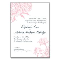 I love this invitation! Peony letterpress wedding invitation! On sale this week for 50% off! 50 invites for $212.50