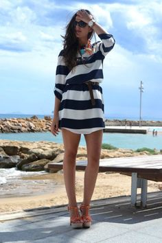 navy striped w/ orange wedges outfit.