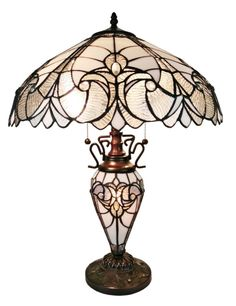 Amora Lighting Tiffany Style Two Floral White Table Lamps AM203TL18 #AmoraLighting #StainedGlass