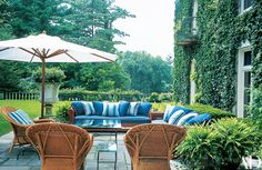 The Laurens shuttle between the Bedford retreat and a summer house in Montauk, New York, a Manhattan town house, a villa in Jamaica and the 16,000-acre Double RL Ranch in Colorado (see Architectural Digest, November 2002). The poolhouse terrace.